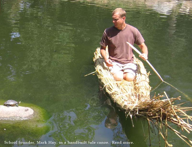 founder Coast Live Oak School Mark Hay in handmade tule boat